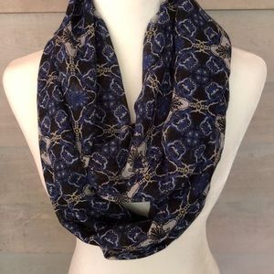 Beautiful Black, Blue and White Infinity Scarf